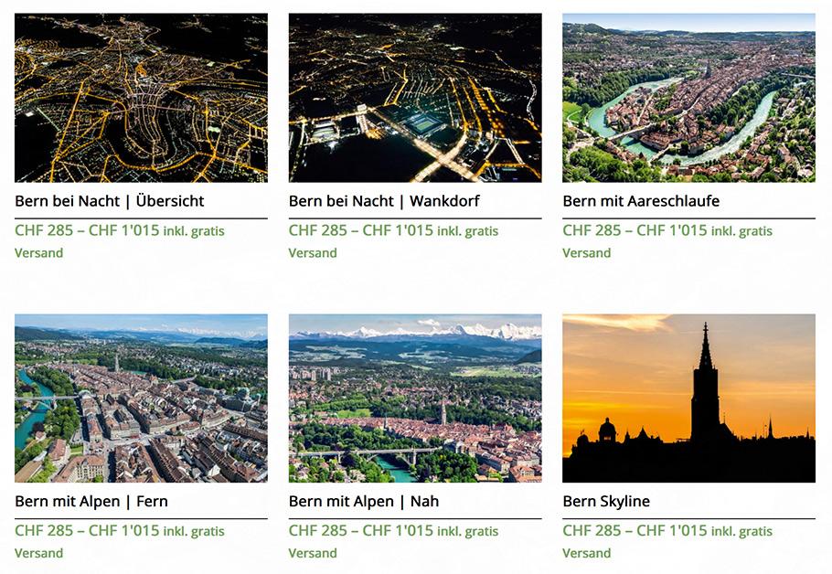 Bern von oben - Luftaufnahmen bestellen